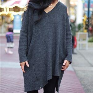 Very J Knit Sweater Gray Oversize Large Zipper